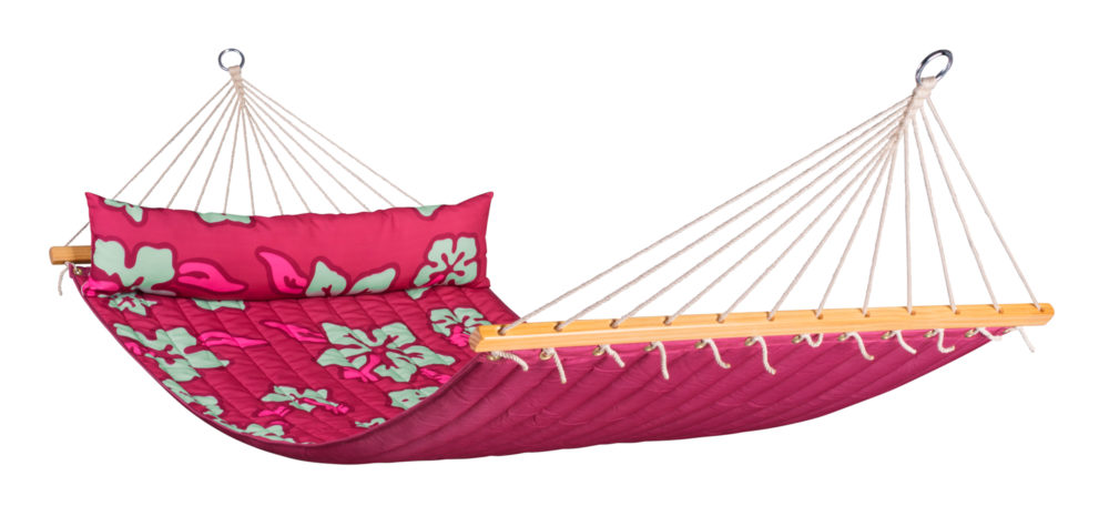 HAWAII Weatherproof Double Padded Spreader Bar Hammock hibiscus