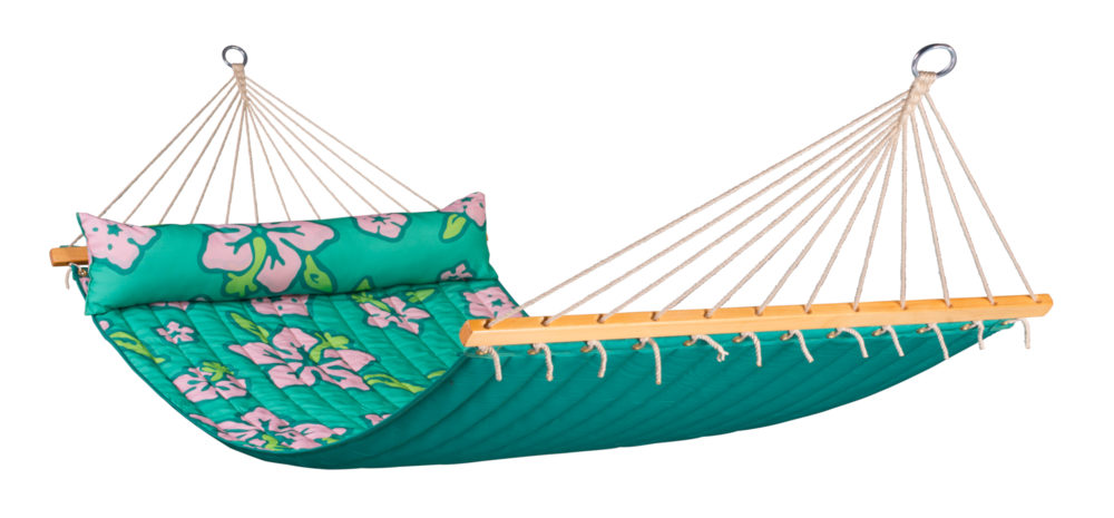 HAWAII Weatherproof Double Padded Spreader Bar Hammock palm