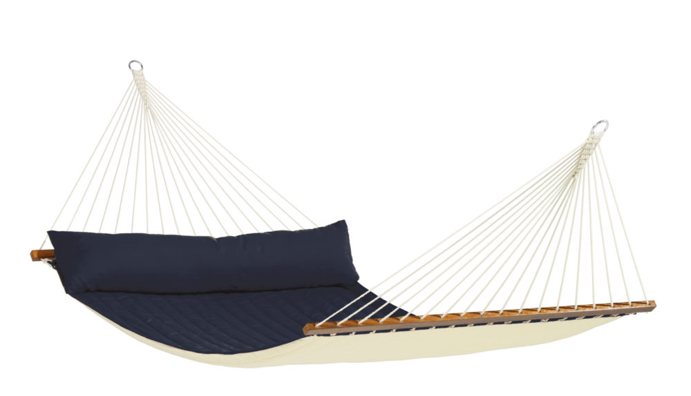 Weatherproof Kingsize Padded Spreader Bar Hammock navy blue