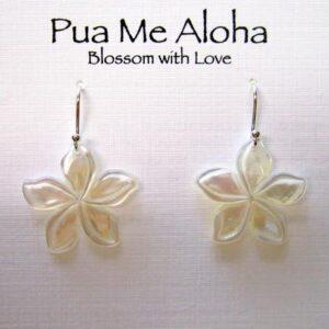 Carved Plumeria Earrings